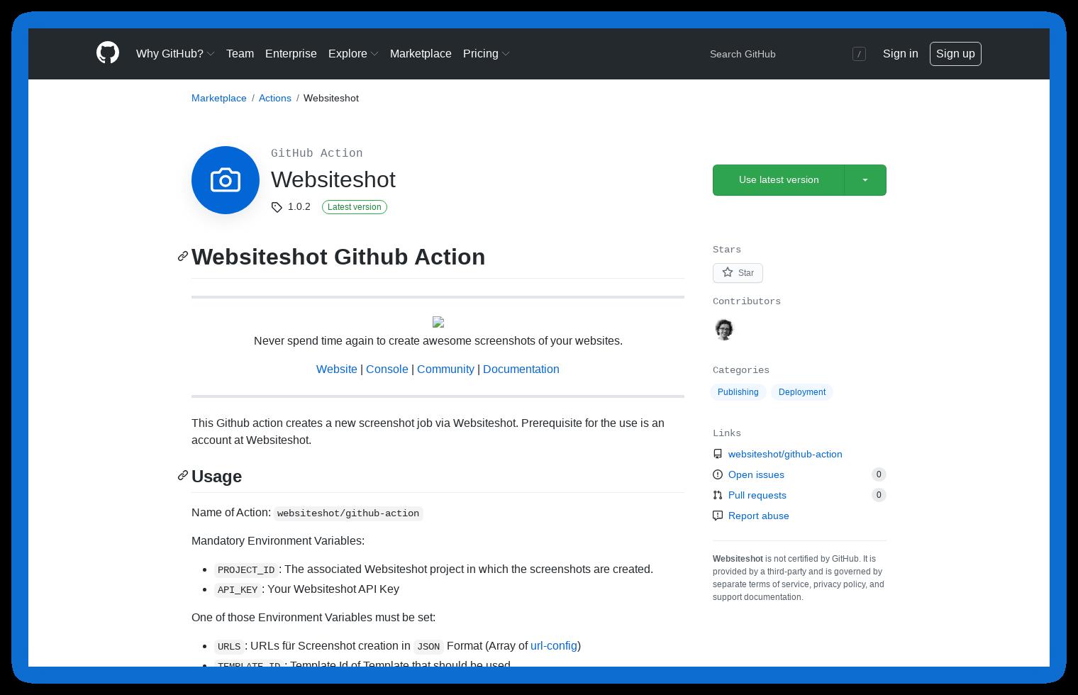 GitHub Action Marketplace